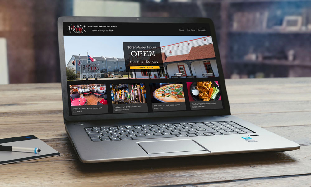 Portfolio Image of Lucky 12 Tavern - Responsive Desktop Version